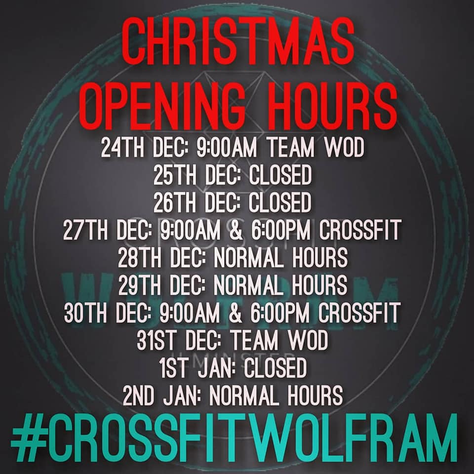 Wolfram Christmas and new year timetable